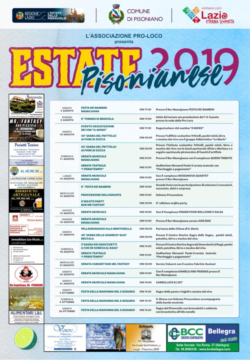 Calendario Sagre.Estate A Pisoniano Il Calendario Degli Eventi Agenzia
